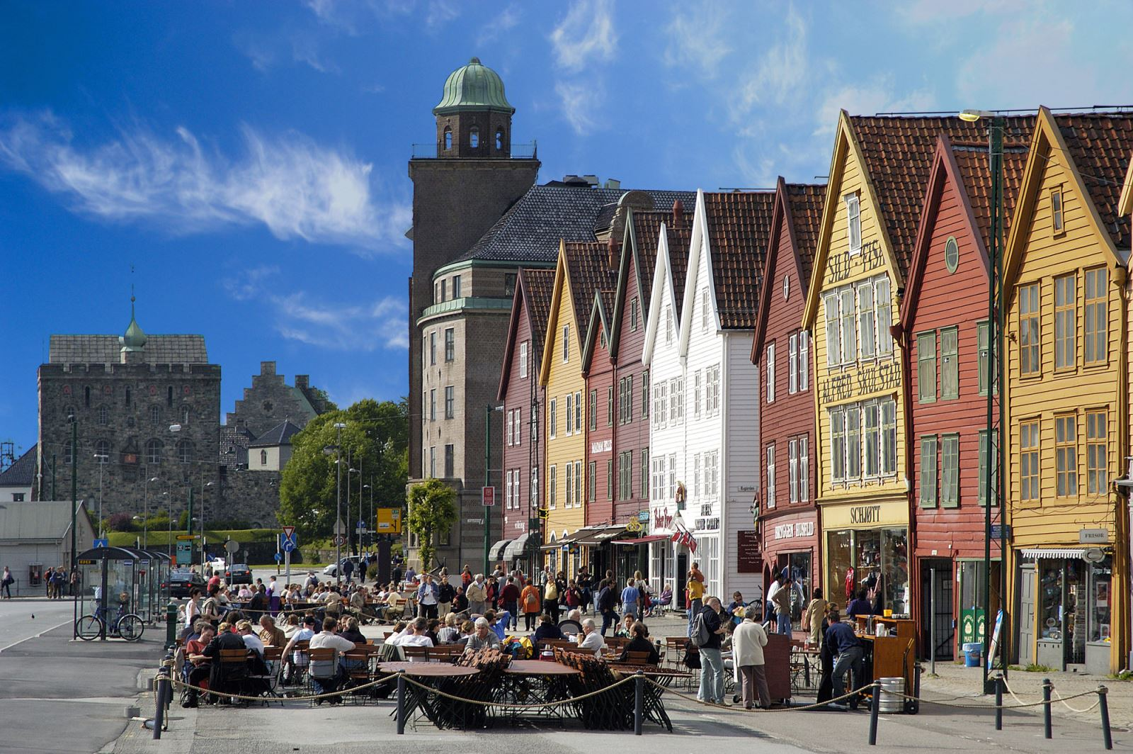 Bryggen in Bergen in summer Norway