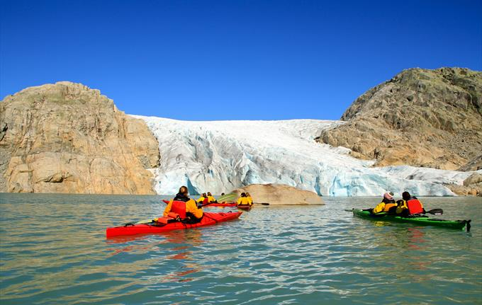 Kayaking in the front of the Folgefonna Glacier, Rosendal