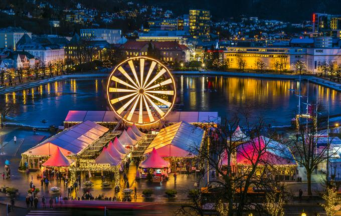 Bergen Christmas Market in Bergen city center