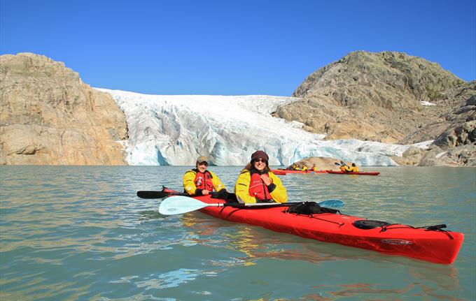 Kayaking in the front of the Folgefonna Glacier, Rosendal.